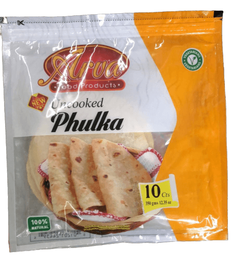 Arvya - uncooked Whole Wheat Phulka Roti - 10 Count