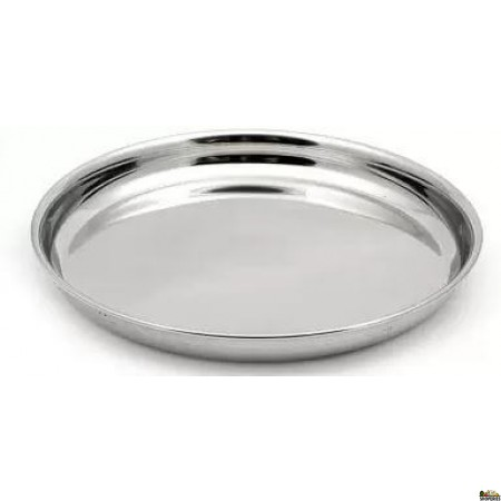 Stainless Steel Thali With Beaded Edge - 10''