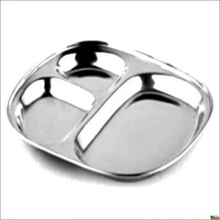 Stainless Steel 3 Compartment Oval Tray - 26 Cm
