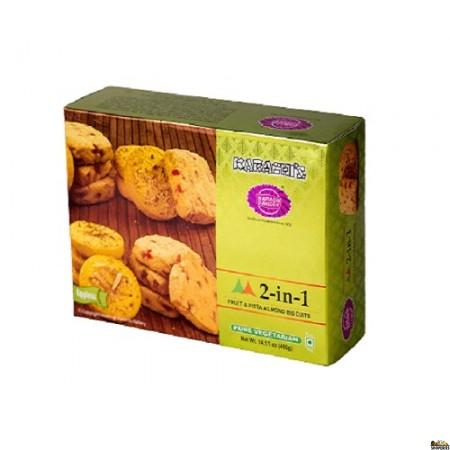 Karachi Bakery 2-in-1 Fruit Pista Almond Biscuits - 400 Gm