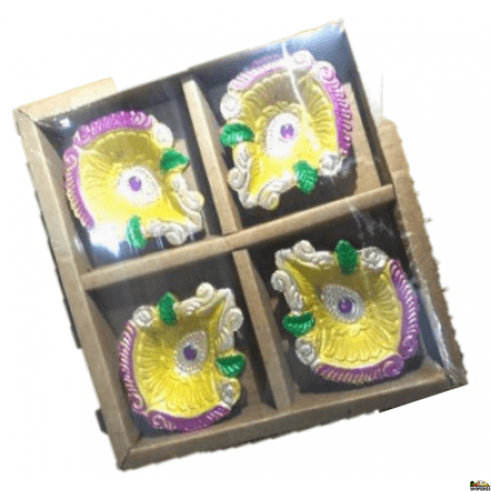 Designer Diya - Without Wax (pack Of 4)