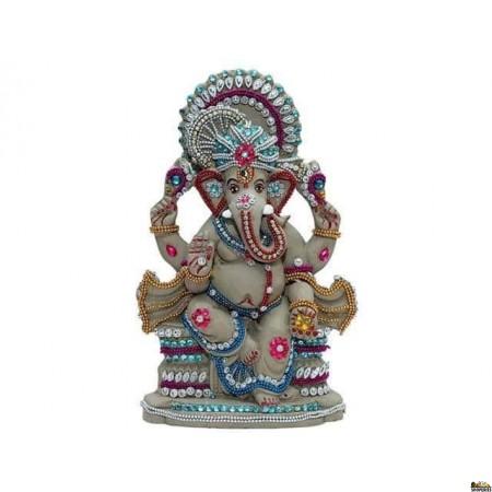 """Eco Friendly Ganesha Idol 9"""" Inch - Grey Color"""