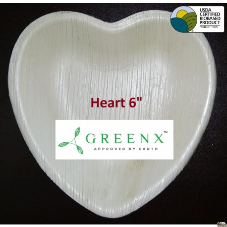 GREENX 6Inch Heart Shape Plate (25 Plated)