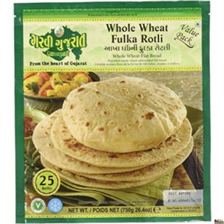 Garvi Gujrati Whole Wheat Fulka Roti Value Pack - 750g  (Frozen)