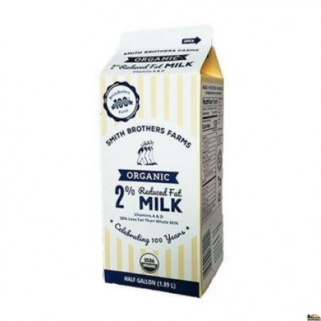 Smith Brothers Farms Organic 2% Milk - 1/2 Gal