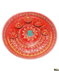 Designer Red Thali Along With 5 Fixed Diyas