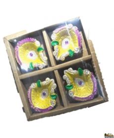 Designer Diya - Without Wax (pack Of 4)