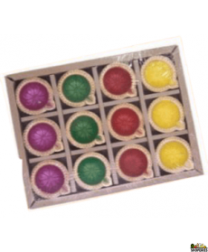 Sp-134 Without Wax Colourful Diya - 12 Pack