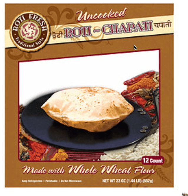 Roti Fresh Uncooked whole wheat Roti Chapati - 12 Rotis)