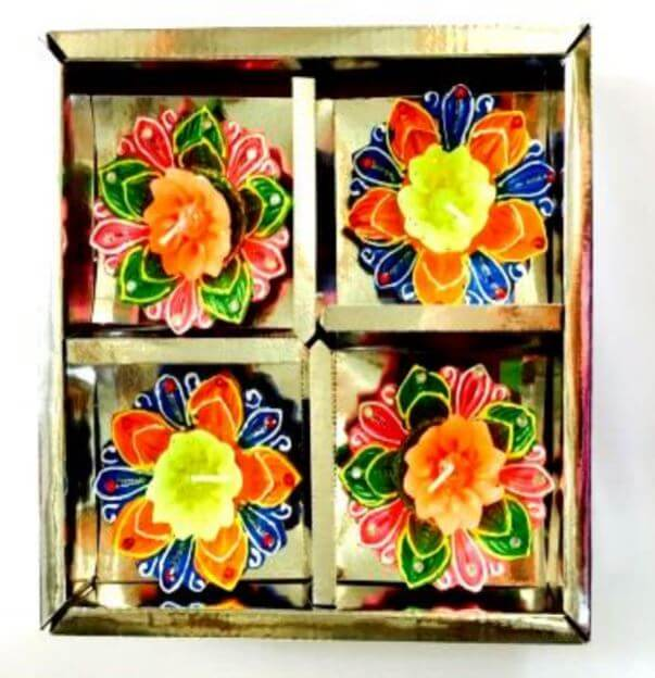 DECO ITC DIYA BOX With Wax (4 PCS)