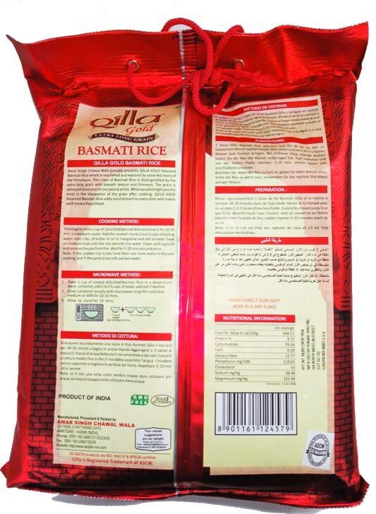 Qilla Gold Pure Extra Long Grain Basmati Rice - 10 lb