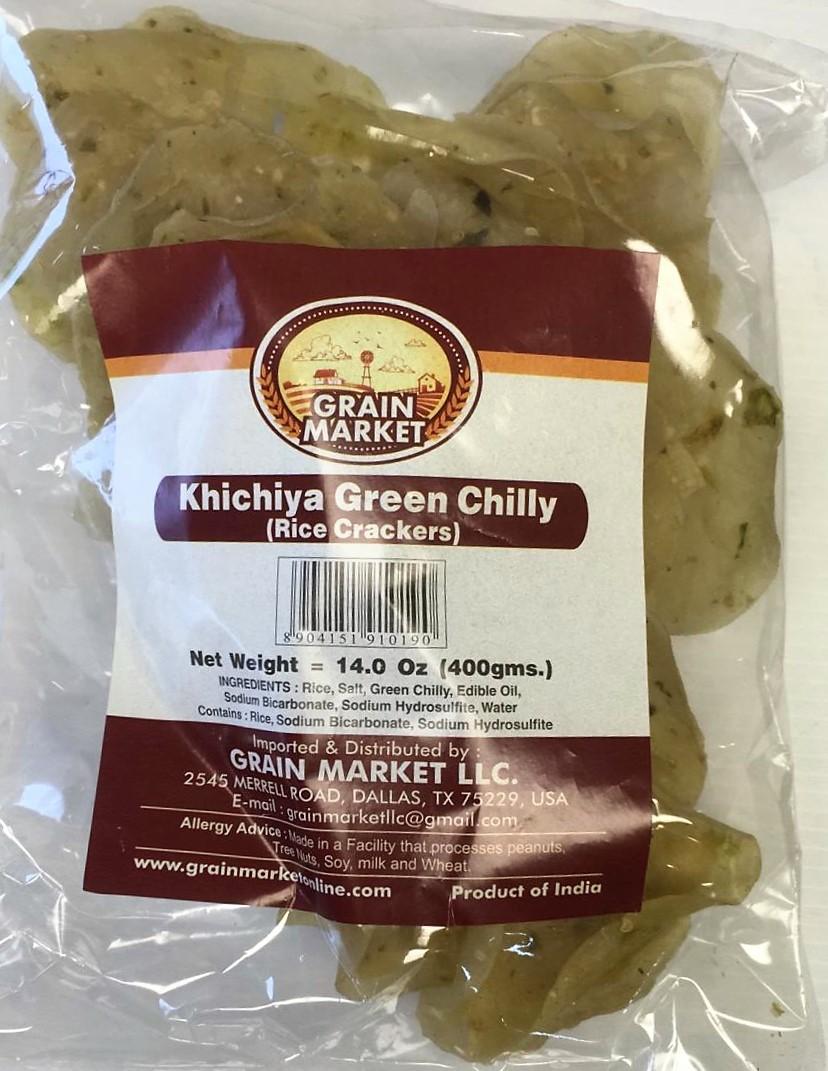 Grain Market Khichiya Green Chilly (Rice Crackers) - 400g