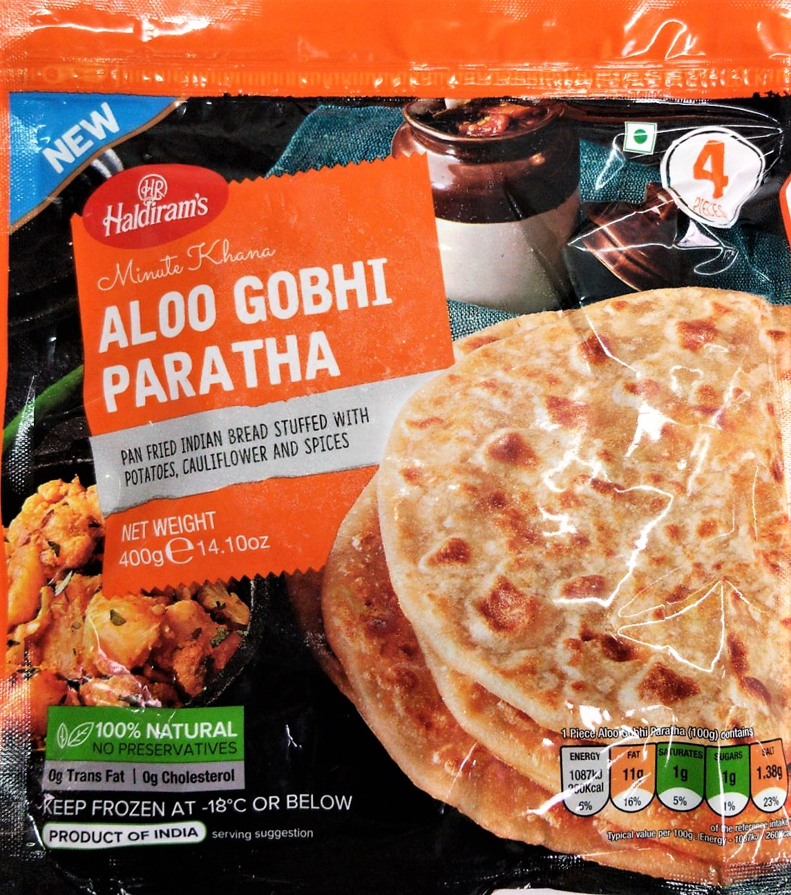 Haldirams Aloo Gobhi Paratha (Frozen) 400 gm